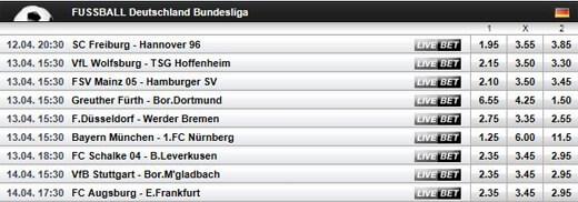 Digibet Wettquoten Bundesliga 2012/13