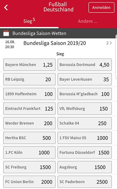 Langzeitwette Bundesliga Meister bei Tipico