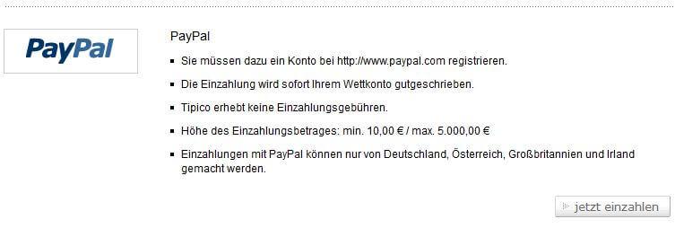 PayPal Sportwetten bei Tipico