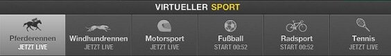 Übersicht der virtuellen Sportwetten beim Wettanbieter Bet365