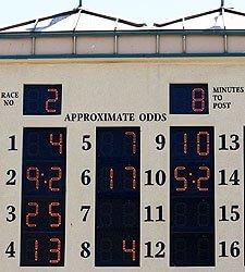 Tote Board am Hollywood Park Racetrack in Inglewood
