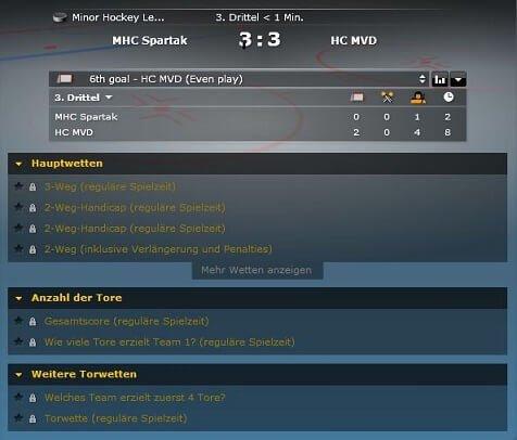 Wettoptionen bei Bwin Eishockeywetten