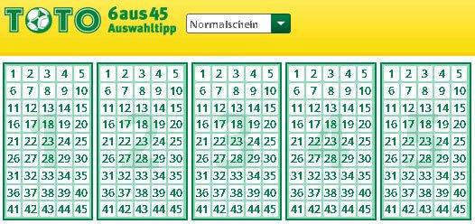 Toto 6 Aus 45 Auswahlwette Spielplan