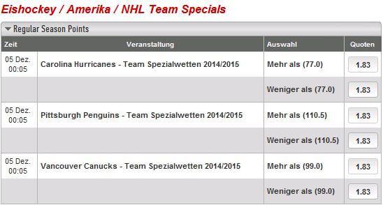 Ladbrokes Eishockey Spezialwetten