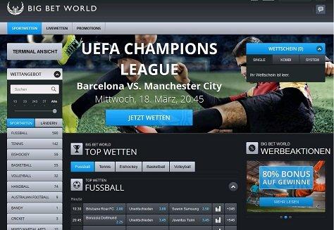 Website von BigBetWorld Sportwetten
