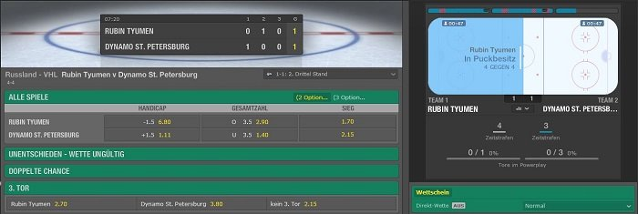 Eishockey Live Wetten beim Wettanbieter Bet365