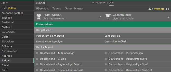 Bet365 Webseite mit Fußballwetten im Sportwetten Test