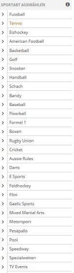Übersicht der Sportarten im Wettangebot von Betsson