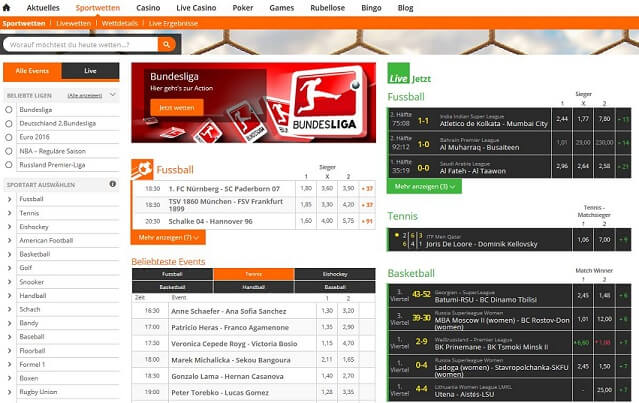 Screenshot der Betsson Website