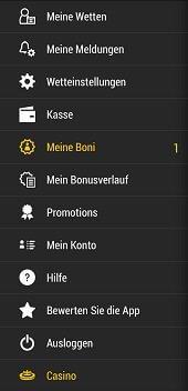 Menü der Bwin Sportwetten App