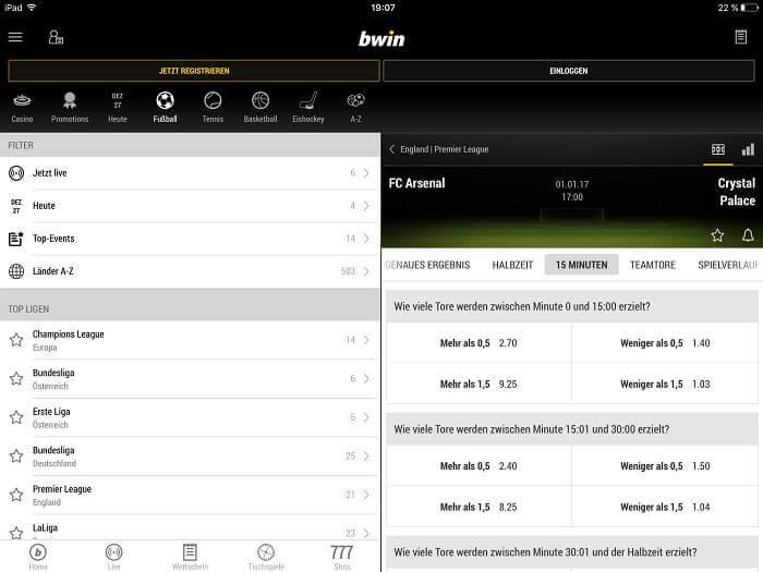 Live Wetten im mobilen Bereich von Bwin