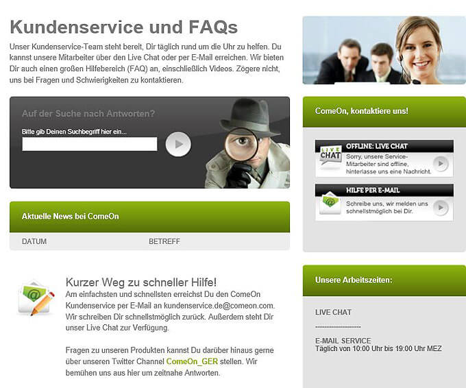 ComeOn-Kundenservice