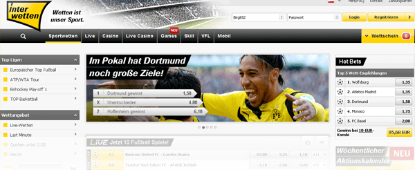 Interwetten Website Startseite