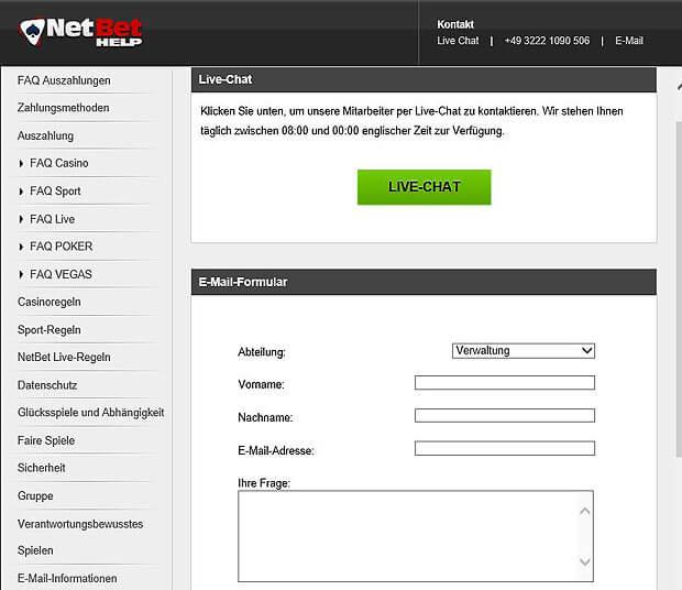 Kundendienst von Netbet