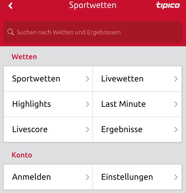 Tipico mobile Wetten Auswahlmenü