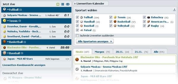Bet-at-home Live Wetten Kalender