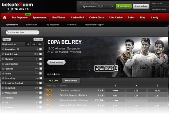 Betsafe Sportwetten Website