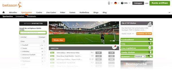 Betsson Sportwetten Screenshot Wettseite