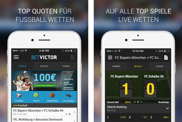 Betvictor Live Wetten mobil