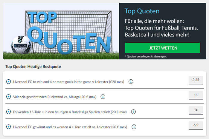 Betvictor Top Quoten