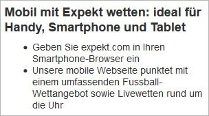 Expekt.com für mobile Endgeräte