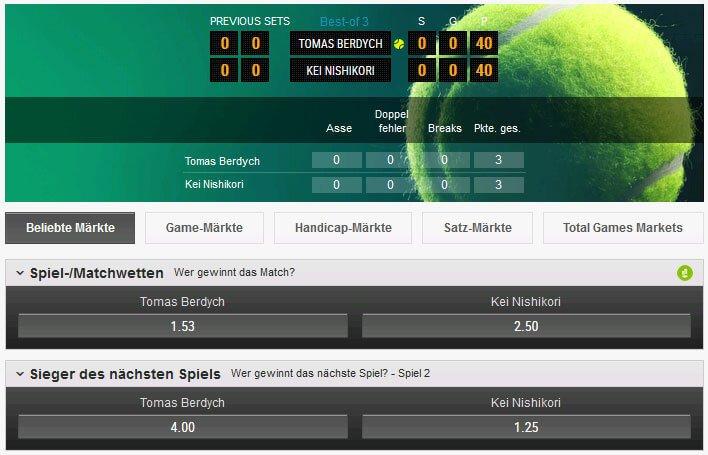 Ladbrokes Tennis Live Wetten