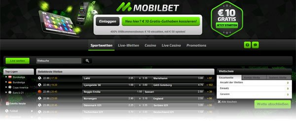 Mobilbet Screenshot