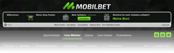 Mobilbet Wettkonto Verwaltung