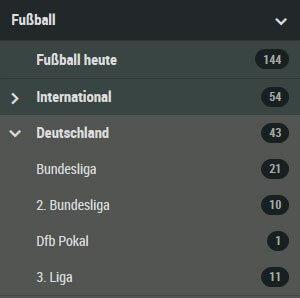 Wettangebot Deutschland Fussball