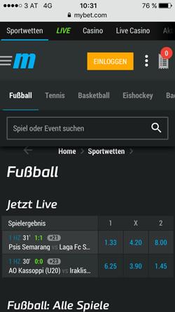 Mybet mobile Live Wetten