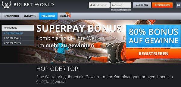 Screenshot mit Ausschnitt der Wettseite von BigBetWorld