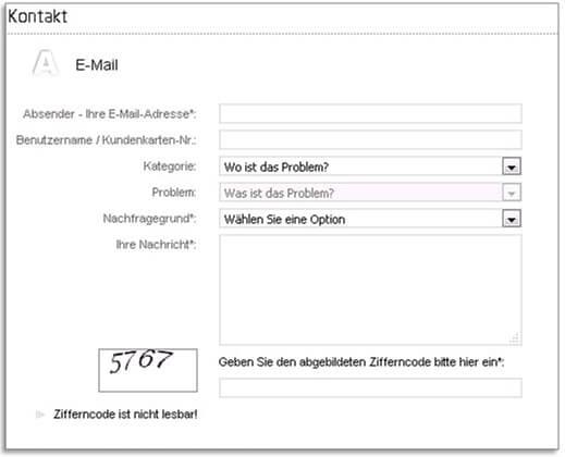 Tipico Kundendienst Onlineformular