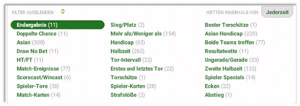 Unibet Filter Wettangebot