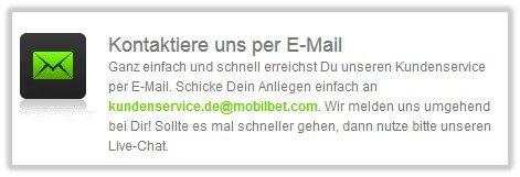 Mobilbet Kundendienst Mail