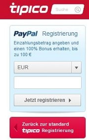 PayPal Registrierung bei Tipico