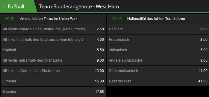West Ham Sonderwetten bei Betway