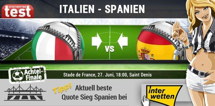 EM 2016 Achtelfinale Italien - Spanien bei Interwetten