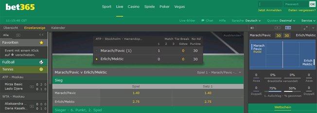Bet365 Live Tennis