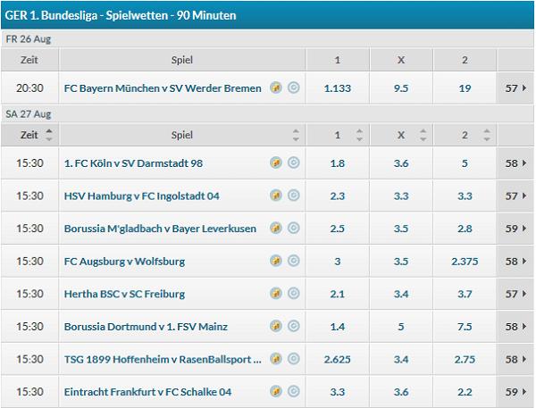 Betvictor Bundesliga Quoten Spieltag 1