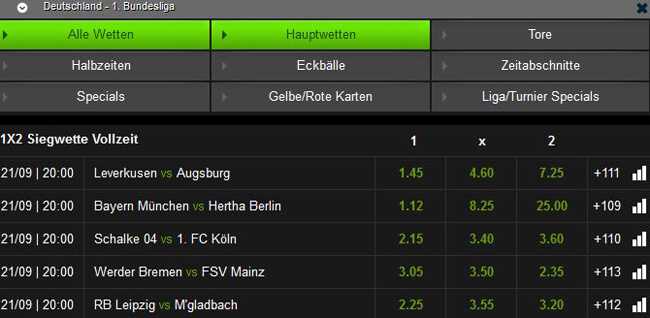 Mobilbet Bundesliga Quoten