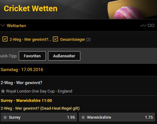 Bwin Cricket Wettangebot