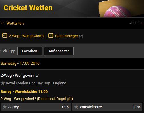 Bwin Cricket Wettangebot
