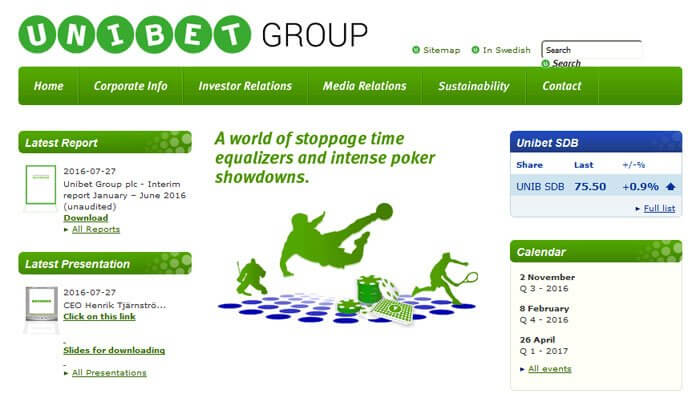 Unibet group plc homepage