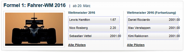 William Hill Wettangebot Formel 1