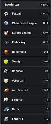 Sportarten Auswahl im XTip Wettangebot