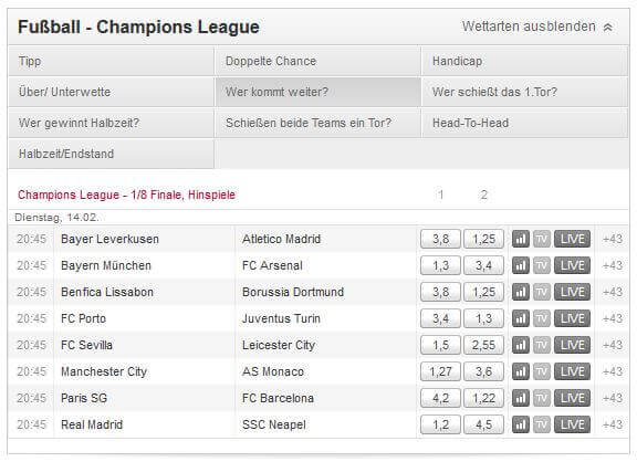 champions league wetten wer kommt weiter