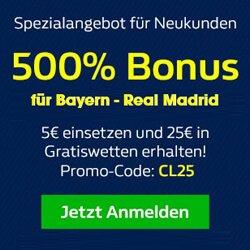 William Hill Neukundenangebot zu Bayern - Real