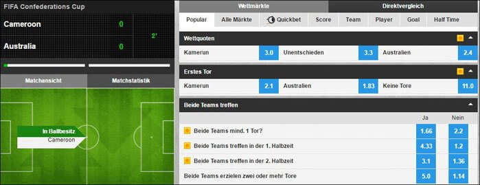 Livewetten Center Betfair Wettquoten