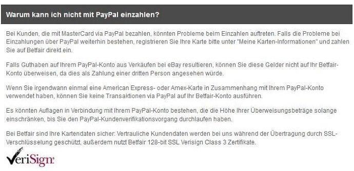 FAQ Eintrag zu PayPal bei Betfair