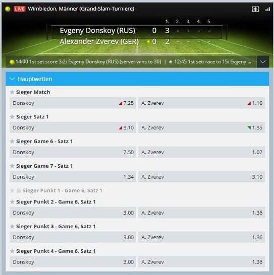 Tennis Livewetten bei Sportingbet